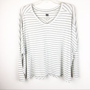 We The Free Small Oversized Stripe Long Sleeve Top